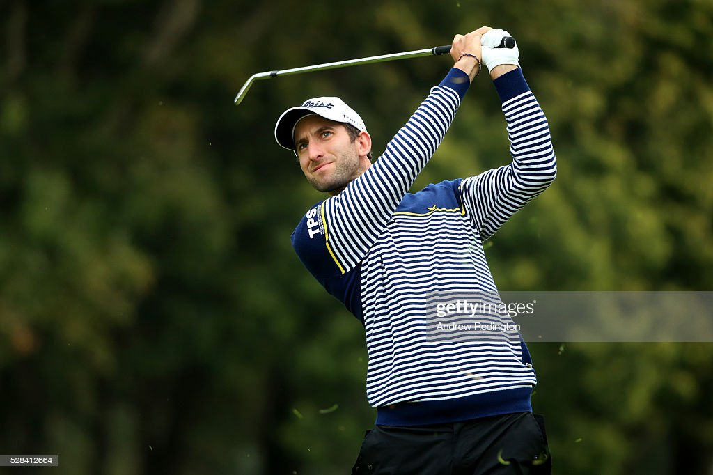 Seve Benson of England plays his second shot on the 1st during the first round of the Trophee Hassan II at Royal Golf Dar Es Salam on May 5, 2016 in Rabat, Morocco.