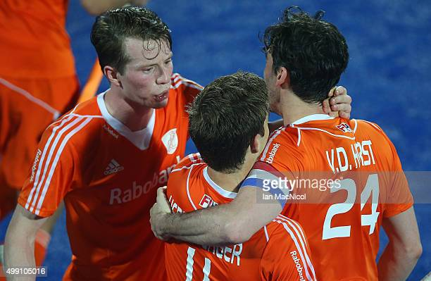 Seve van Ass of Netherlands celebrates scoring during the match between Argentina and Netherlands on day two of The Hero Hockey League World Final at...