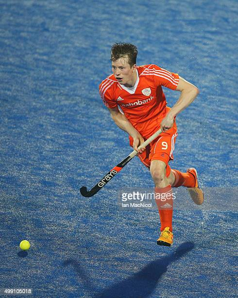 Seve van Ass of Netherlands runs with the ball during the match between Argentina and Netherlands on day two of The Hero Hockey League World Final at...