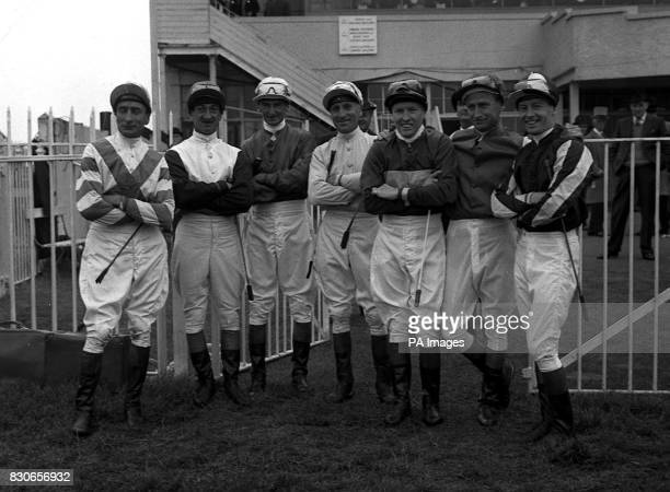 Seven Australian jockeys all of whom rode in the last race the Carshalton Maiden Stakes at Epsom Surrey on the opening day of the Summer meeting W...