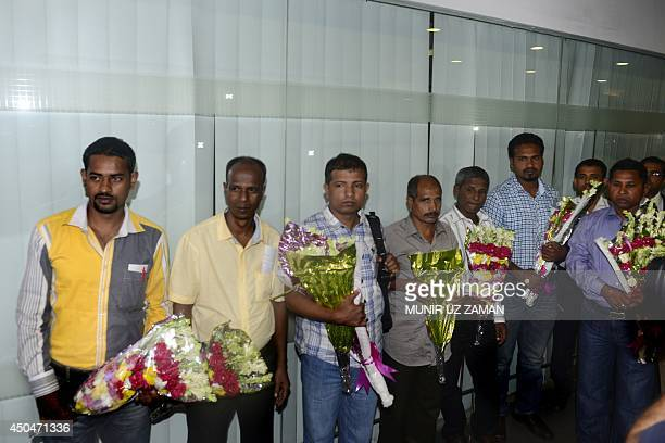 Seven Bangladesh sailors who were released by Somali pirates after spending three and a half year as hostages arrive at Shahjalal International...