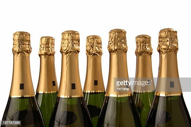 Seven Champagne Bottles for Lucky Celebration Drinking, Isolated on White