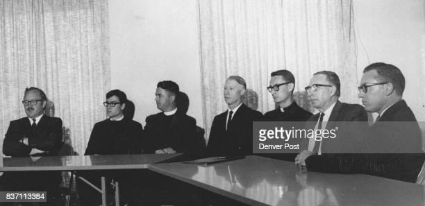 Seven DenverArea Churchmen hold Press Conference to discuss 'Mobilization' against Vietnam War Left to right are the Rev Joseph Hardegree campus...
