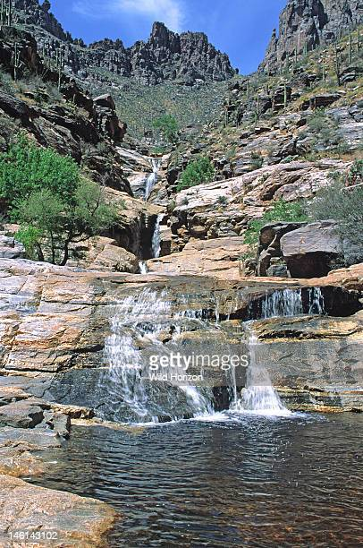 Seven Falls the attraction at the end of a popular hiking trail in the Sabino Canyon Recreation Area in Coronado National Forest Bear Canyon Santa...
