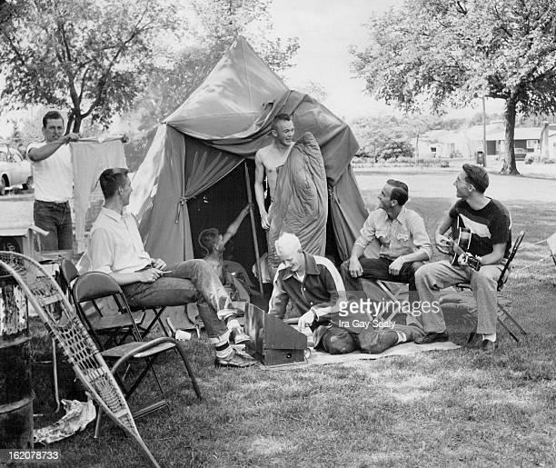 JUN 2 1955 Seven Littleton high school seniors prepare breakfast on a camping project on their last day of school at Littleton high From left are Don...