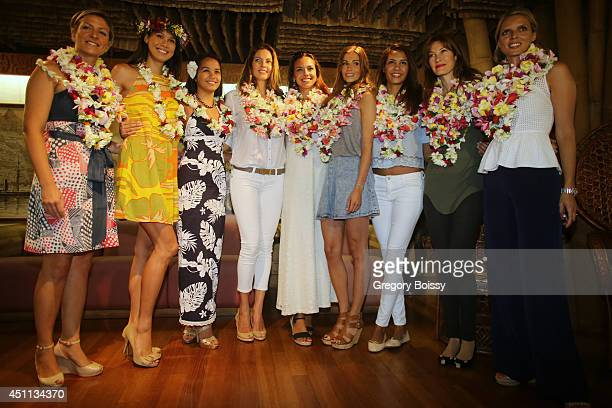 Seven Miss France Mehiata Riaria a guest Mareva Georges Marine Lorphelin Alexandra Rosenfeld Chloe Mortaud Mareva Galanter and Sylvie Tellier pose...