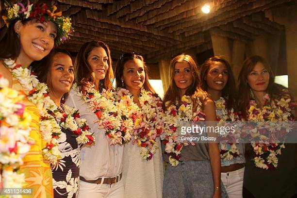 Seven Miss France Mehiata Riaria a guest Mareva Georges Marine Lorphelin Alexandra Rosenfeld Chloe Mortaud and Mareva Galanter pose during the Tahiti...
