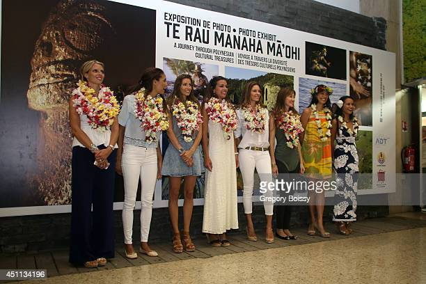 Seven Miss France Sylvie Tellier Chloe Mortaud Alexandra Rosenfeld Marine lorphelin Mareva Georges Mareva Galanter and Mehiata Riaria pose during the...