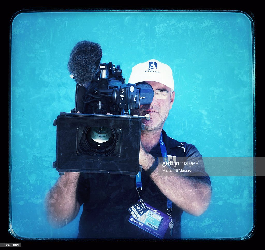 A seven network cameraman, 36, from Melbourne attends the 2013 Australian Open at Melbourne Park on January 19, 2013 in Melbourne, Australia.