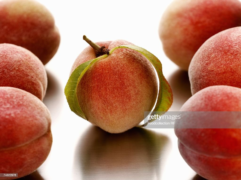 Seven peaches : Stock Photo