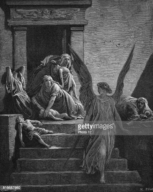 Exodus Angel of the Lord sword in hand leaving mothers lamenting the death of the first born Illustration by Gustave Dore French painter and book...