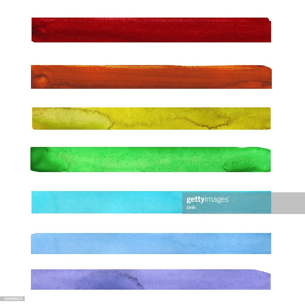Seven rainbow colored watercolor paint strokes : Stock Photo