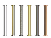 seven shades of metal pipes with joints isolated on white