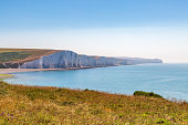Looking across to the Seven Sisters Cliffs in Sussex, on a sunny summer's morning