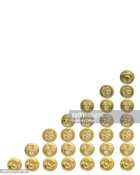 Seven stacks of one pound coins on white background
