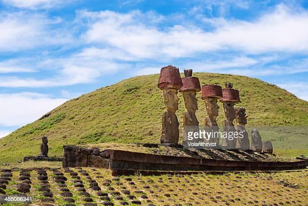 Seven statues (moai) in Ahu Nau Nau