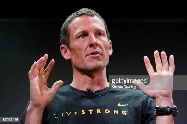 Seven time Tour de France winner Lance Armstrong speaks at the launch of a Nike and the Lance Armstrong Foundation's Global Art Exhibition at...
