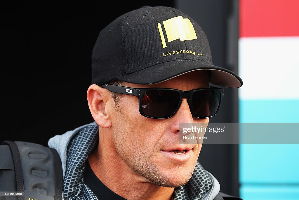 Seven times Tour de France winner <a gi-track='captionPersonalityLinkClicked' href=/galleries/search?phrase=Lance+Armstrong&family=editorial&specificpeople=203072 ng-click='$event.stopPropagation()'>Lance Armstrong</a> attended the 2012 Paris Roubaix cycle race from Compiegne to Roubaix on April 8, 2012 in Paris, France. The 110th edition of the race is 257km long with 51.5km of cobbles spread over 27 sections.