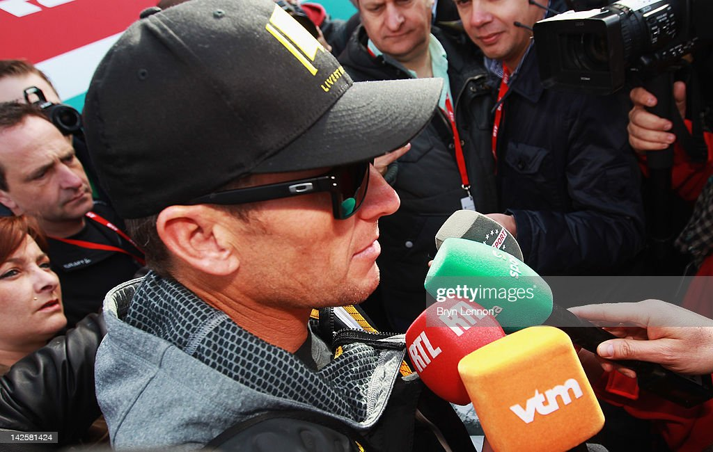 Seven times Tour de France winner Lance Armstrong attended the 2012 Paris Roubaix cycle race from Compiegne to Roubaix on April 8, 2012 in Paris, France. The 110th edition of the race is 257km long with 51.5km of cobbles spread over 27 sections.