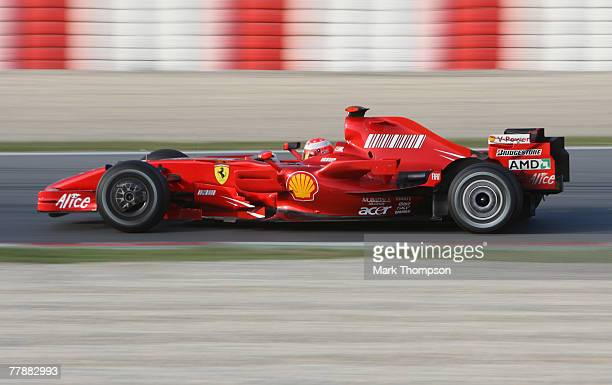 Seven times world champion Michael Schumacher of Germany returns to Formula One to test for Ferrari during Formula One Testing at the Circuit de...