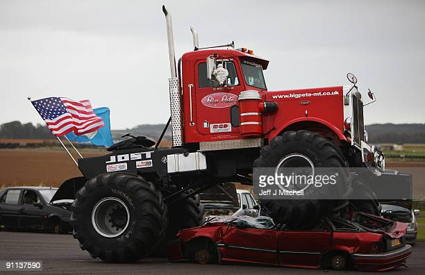 Seven tonne Monster Truck Big Pete gives a demonstration of it�s car crushing abilities at the Museum of Flight on September 25 2009 in Edinburgh...