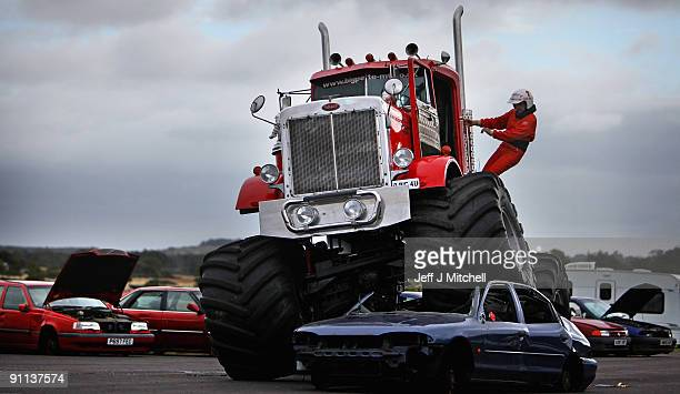 Seven tonne Monster Truck gives a demonstration of it�s car crushing abilities at the Museum of Flight on September 25 2009 in Edinburgh Scotland The...