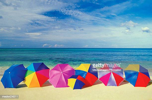 Seven umbrellas on the smooth sands of an empty beach in the Caribbean