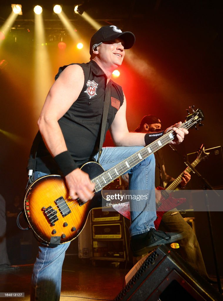Sevendust bassist Vince Hornsby performs at the Railhead at the Boulder Station Hotel & Casino as the band tours in support of the new album 'Black Out the Sun' on March 23, 2013 in Las Vegas, Nevada.