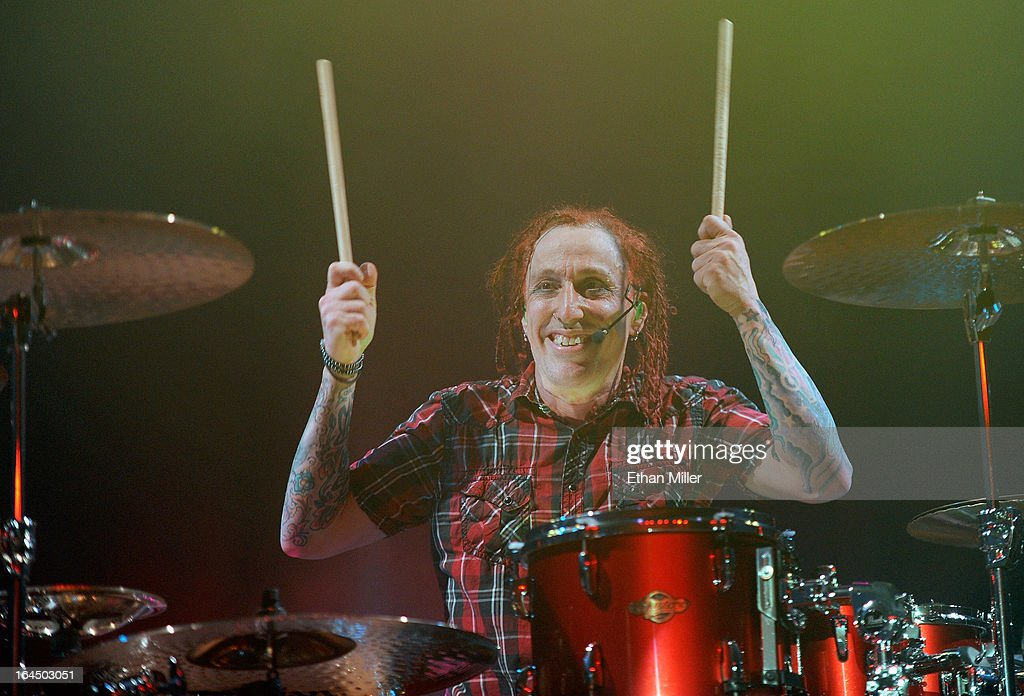 Sevendust drummer <a gi-track='captionPersonalityLinkClicked' href=/galleries/search?phrase=Morgan+Rose&family=editorial&specificpeople=838040 ng-click='$event.stopPropagation()'>Morgan Rose</a> performs at the Railhead at the Boulder Station Hotel & Casino as the band tours in support of the new album 'Black Out the Sun' on March 23, 2013 in Las Vegas, Nevada.