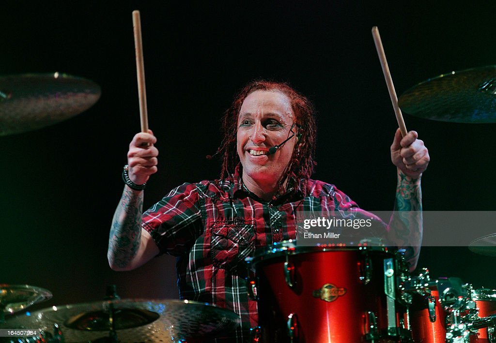 Sevendust drummer Morgan Rose performs at the Railhead at the Boulder Station Hotel & Casino as the band tours in support of the new album 'Black Out the Sun' on March 23, 2013 in Las Vegas, Nevada.