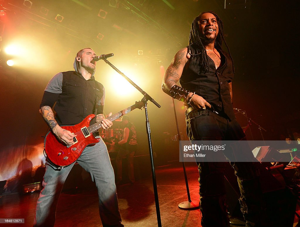 Sevendust guitarist Clint Lowery (L) and singer Lajon Witherspoon perform at the Railhead at the Boulder Station Hotel & Casino as the band tours in support of the new album 'Black Out the Sun' on March 23, 2013 in Las Vegas, Nevada.