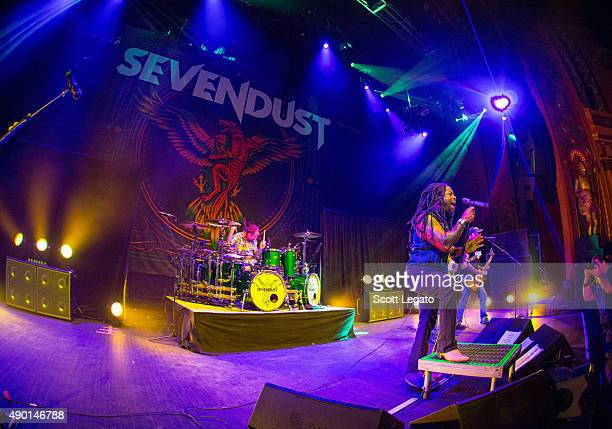 Sevendust performs during the 1000HP Tour at The Fillmore Detroit on September 23 2015 in Detroit Michigan