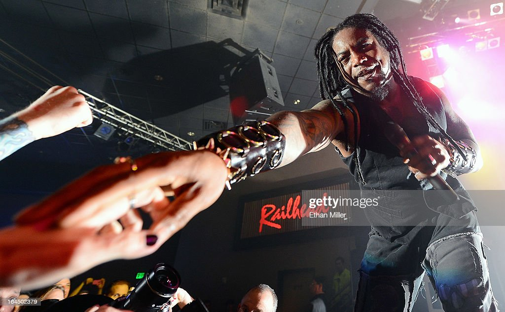 Sevendust singer Lajon Witherspoon performs at the Railhead at the Boulder Station Hotel & Casino as the band tours in support of the new album 'Black Out the Sun' on March 23, 2013 in Las Vegas, Nevada.