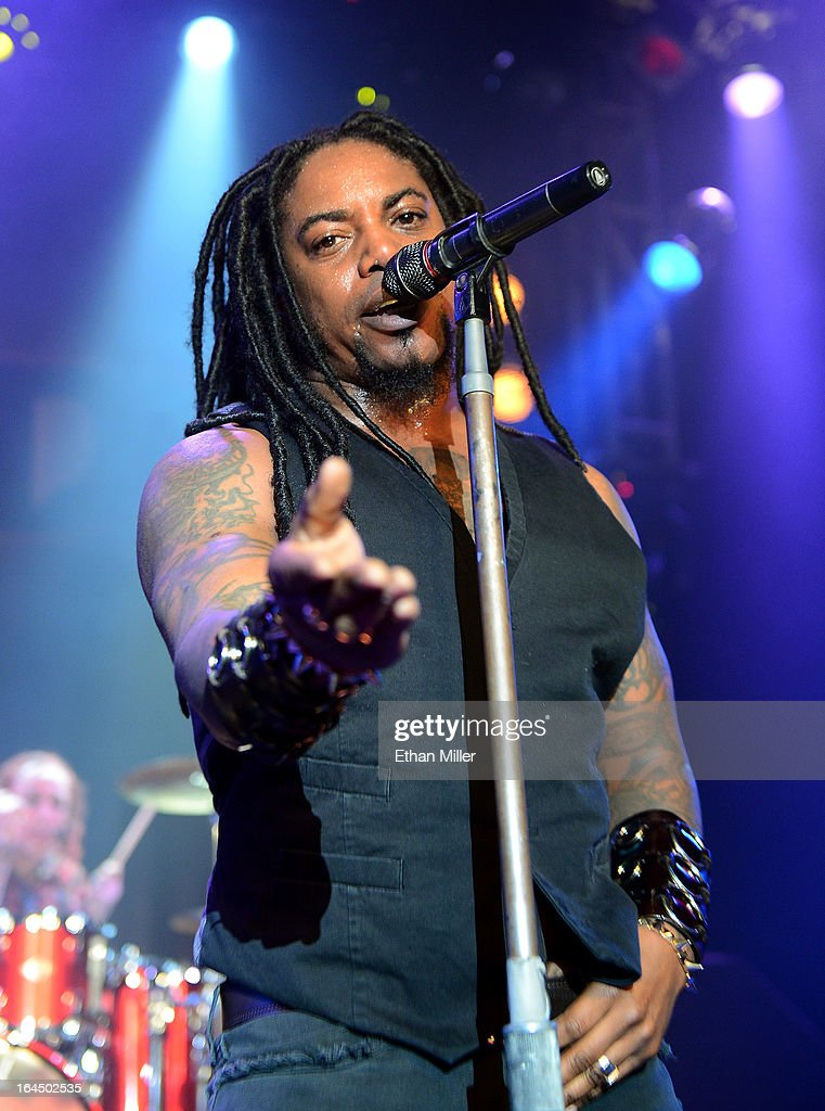 Sevendust singer <a gi-track='captionPersonalityLinkClicked' href=/galleries/search?phrase=Lajon+Witherspoon&family=editorial&specificpeople=838041 ng-click='$event.stopPropagation()'>Lajon Witherspoon</a> performs at the Railhead at the Boulder Station Hotel & Casino as the band tours in support of the new album 'Black Out the Sun' on March 23, 2013 in Las Vegas, Nevada.
