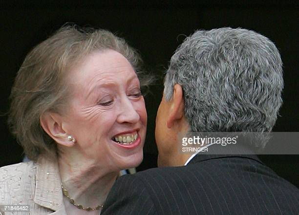 British Foreign Secretary Margaret Beckett greets her Italian counterpart Massimo D`Alema at Chevening House in Kent in southeast England 11...
