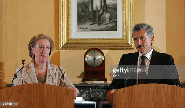 Italian Foreign Minister Massimo D`Alema addresses a press conference with British Foreign Secretary Margaret Beckett at Chevening House in Kent in...