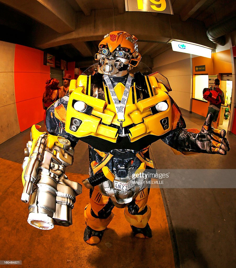 A sevens fan dresses as a transformer at the Westpac Stadium during the fourth leg of the IRB Rugby Sevens World Series in Wellington on February 1...