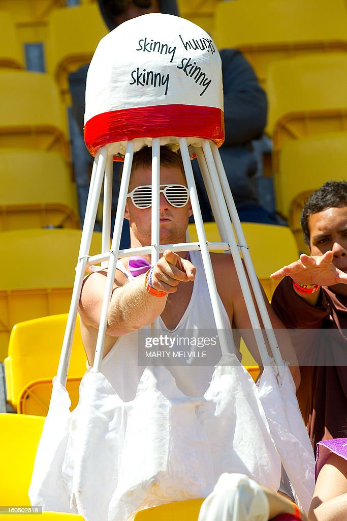 A sevens fan enjoys the atmosphere at the Westpac Stadium on day two of the fourth leg of the IRB Rugby Sevens World Series in Wellington on February 2, 2013. AFP PHOTO / Marty MELVILLE