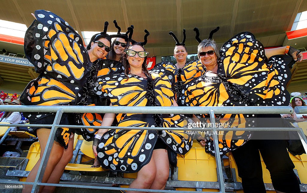 Sevens fans enjoy the atmosphere at the Westpac Stadium at the fourth leg of the IRB Sevens World Series in Wellington on February 1, 2013. AFP PHOTO / Marty MELVILLE