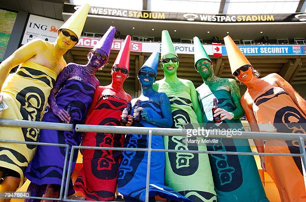 Sevens fans enjoy the atmosphere during the New Zealand International Sevens at Westpac Stadium on February 2 2008 in Wellington New Zealand