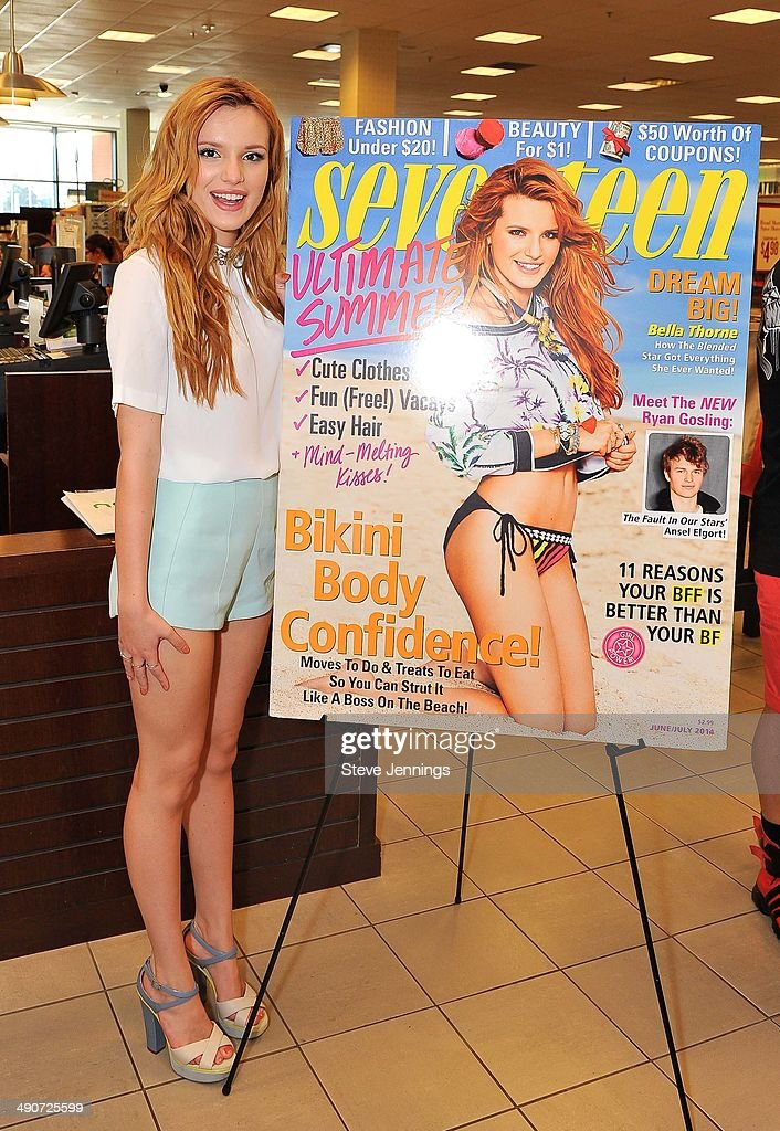 Seventeen Magazine cover girl and Disney Channel star Bella Thorne attends her instore signing at Barnes Noble at the Shops at Tanforan on May 14...