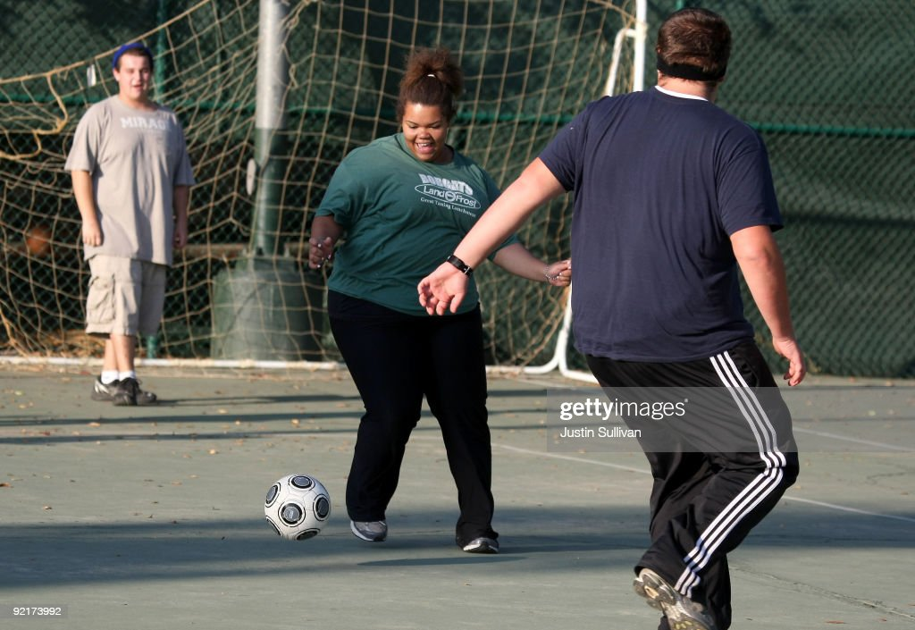 Seventeen year-old Marissa Hamilton plays soccer during fitness training at Wellspring Academy October 20, 2009 in Reedley, California. Struggling with her weight, seventeen year-old Marissa Hamilton enrolled at the Wellspring Academy, a special school that helps teens and college level students lose weight along with academic courses. When Marissa first started her semester at Wellspring she weighed in at 340 pounds and has since dropped over 40 pounds of weight in the first two months of the program. According to the Centers for Disease Control and Prevention, 16 percent of children in the US ages 6-19 years are overweight or obese, three times the amount since 1980.