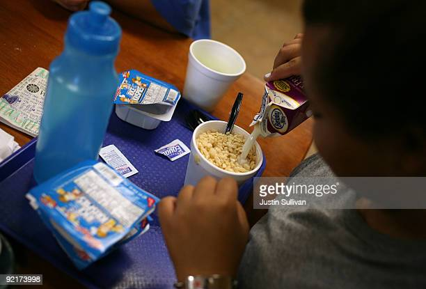 Seventeen yearold Marissa Hamilton pprepares her daily breakfast of Rice Krispies during a meal Wellspring Academy October 19 2009 in Reedley...