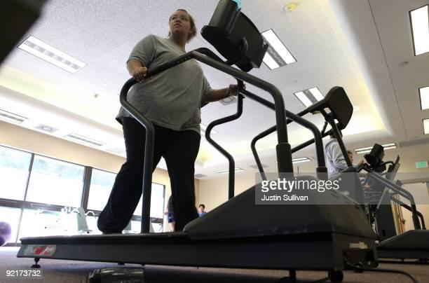 Seventeen yearold Marissa Hamilton walks on a treadmill during fitness training at Wellspring Academy October 19 2009 in Reedley California...