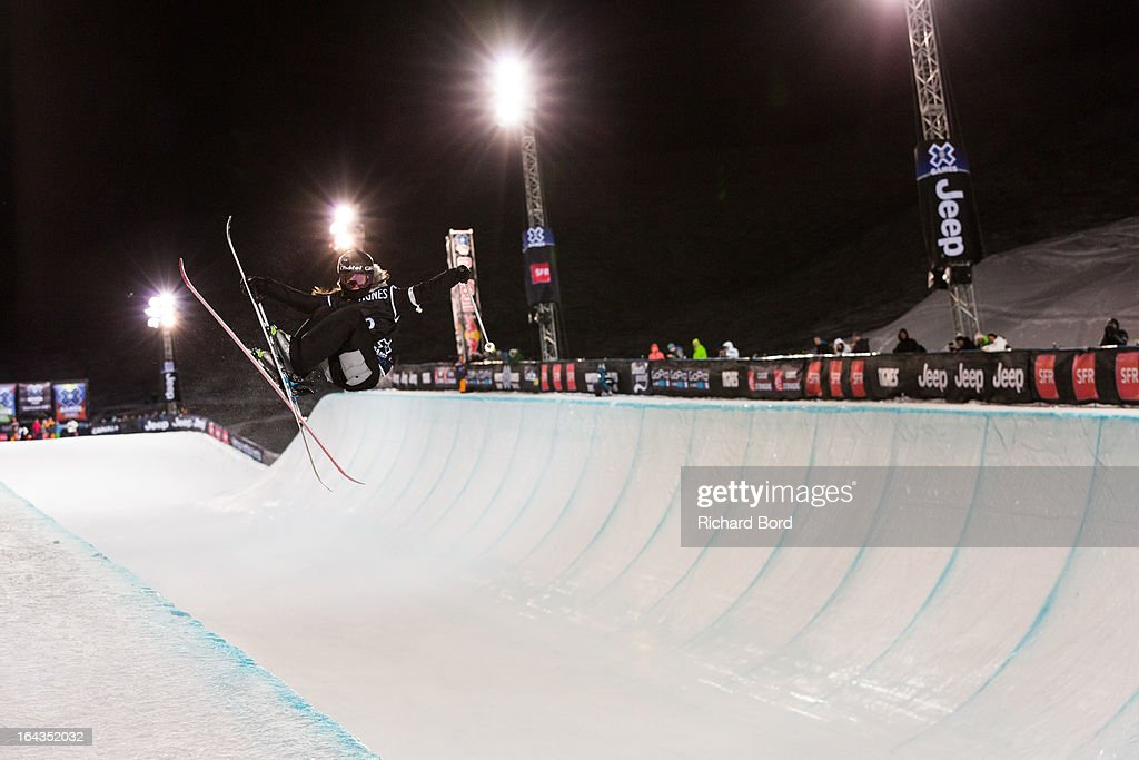 Seventh place Virginie Faivre performs during the Woman's Ski Superpipe final during day five of Winter X Games Europe 2013 on March 22, 2013 in Tignes, France.
