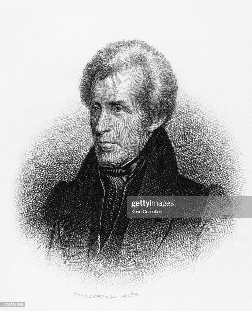 Seventh President of the United States <a gi-track='captionPersonalityLinkClicked' href=/galleries/search?phrase=Andrew+Jackson+-+US+President&family=editorial&specificpeople=99326 ng-click='$event.stopPropagation()'>Andrew Jackson</a> (March 15, 1767 - June 8, 1845), circa 1830. From an original engraving by H.B. Hall & Sons.