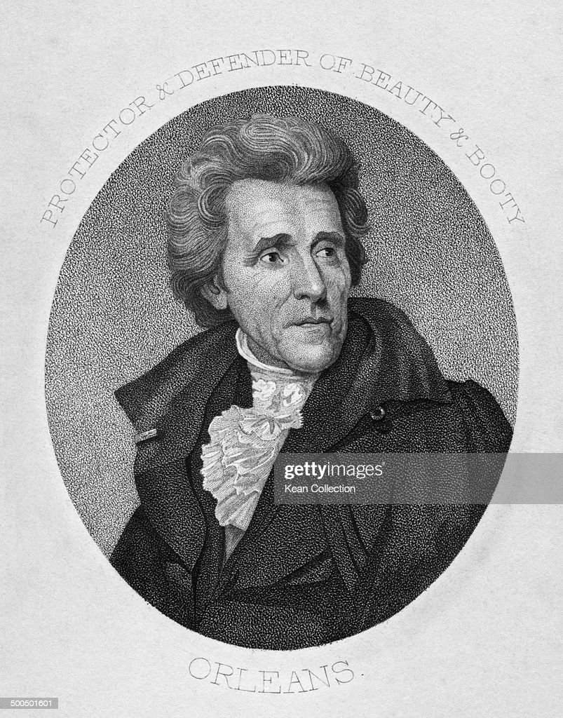 Seventh President of the United States General <a gi-track='captionPersonalityLinkClicked' href=/galleries/search?phrase=Andrew+Jackson+-+US+President&family=editorial&specificpeople=99326 ng-click='$event.stopPropagation()'>Andrew Jackson</a> (March 15, 1767 - June 8, 1845), 1828. Engraved by C.G. Childs after the original painting by J.Wood.