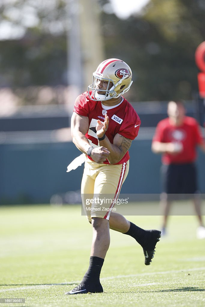 Seventh round draft pick B.J. Daniels works out during the San Francisco 49ers Rookie Camp at the team training complex facility on May 10, 2013 in Santa Clara, California