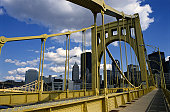 Seventh Street Bridge and View of Pittsburgh