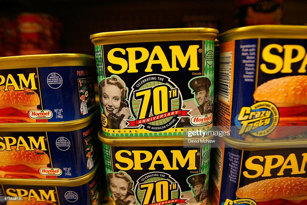 Seventieth anniversary cans of Spam, the often-maligned classic canned lunch meat made by Hormel Foods, are seen on a grocery store shelf May 29, 2008 in Sierra Madre, California. With the rise in food prices, sales of Spam are increasing as consumers look for ways to cut their food bills. According to the US Agriculture Department, the price of food is rising at the fastest rate since 1990. Increasingly expensive staples include such items as white bread, up 13 percent over last year, butter, up nine percent, and bacon at seven percent. The increasing sales have translated to 14 percent higher profits for Hormel. Spam was created in 1937 and was popularized as a staple food for World War II Western allied forces.